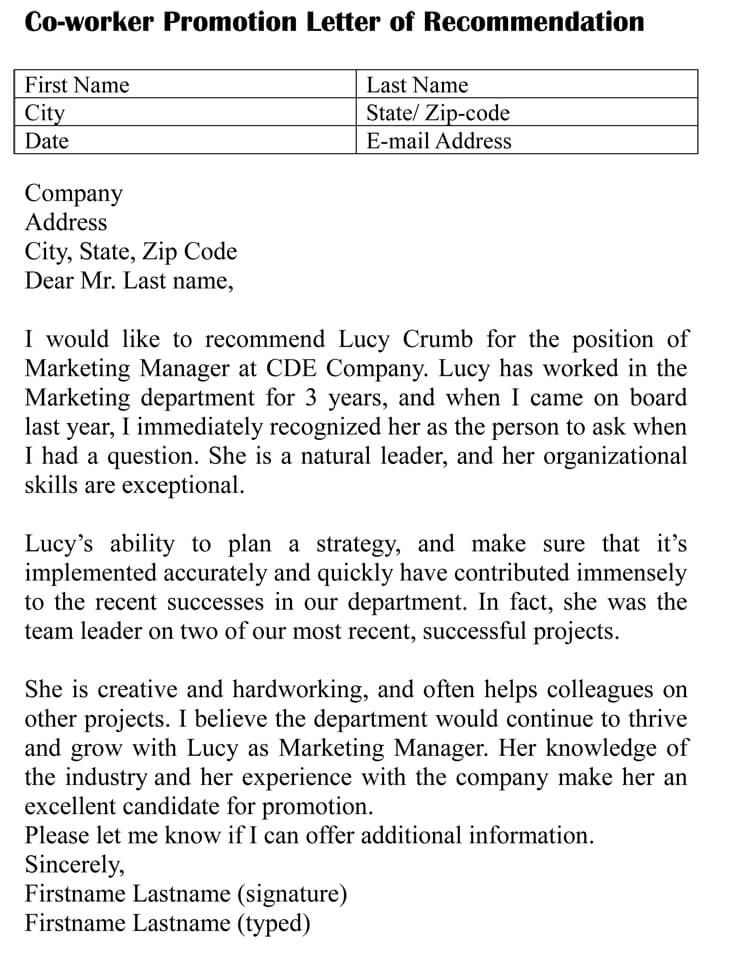 recommendation letter for co worker