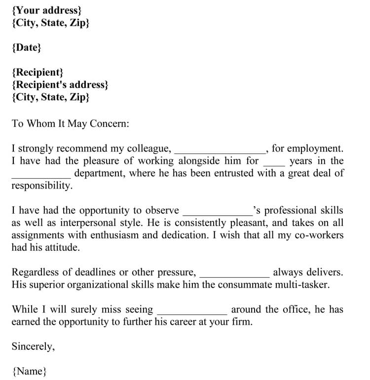 letter of recommendation for co-worker