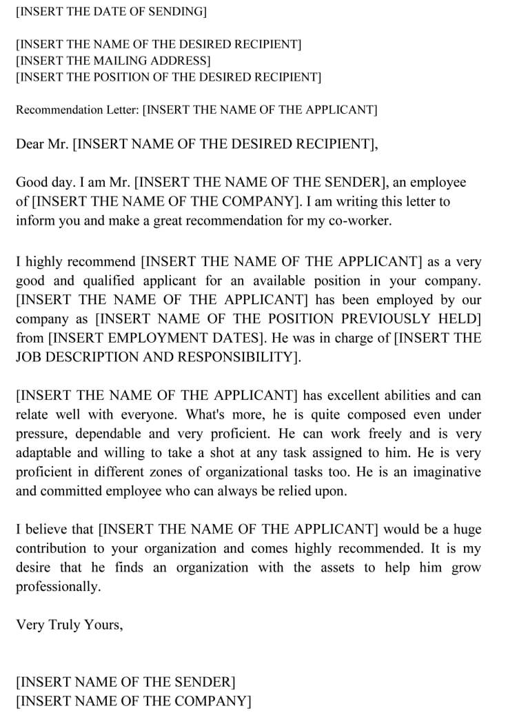 Co-Worker recommendation letter format