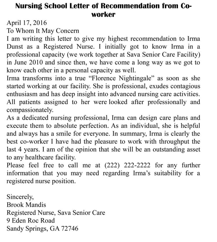 letter of recommendation for nurse co worker
