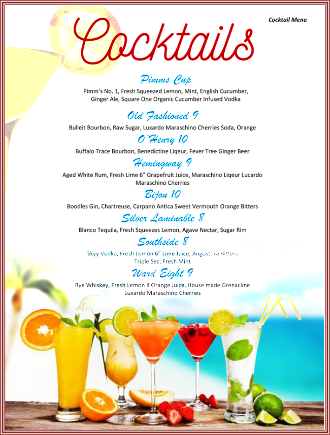 Drinks Menu Template Word Kleobeachfixco - Free printable drink menu template