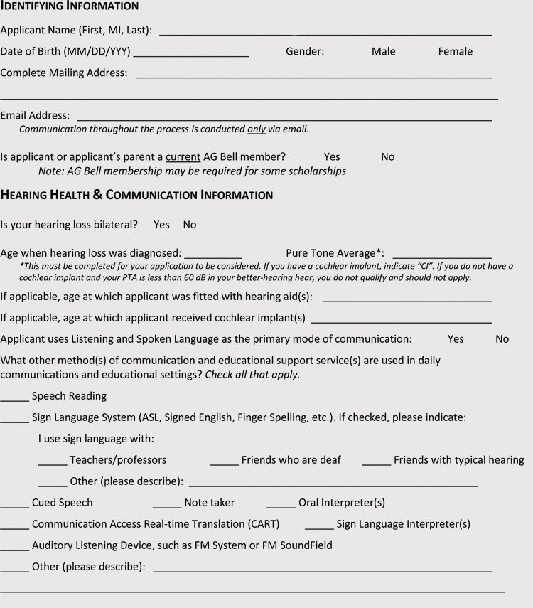 College Application Format