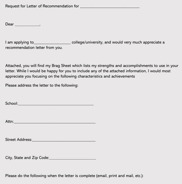 College Recommendation Letter Format (Word)