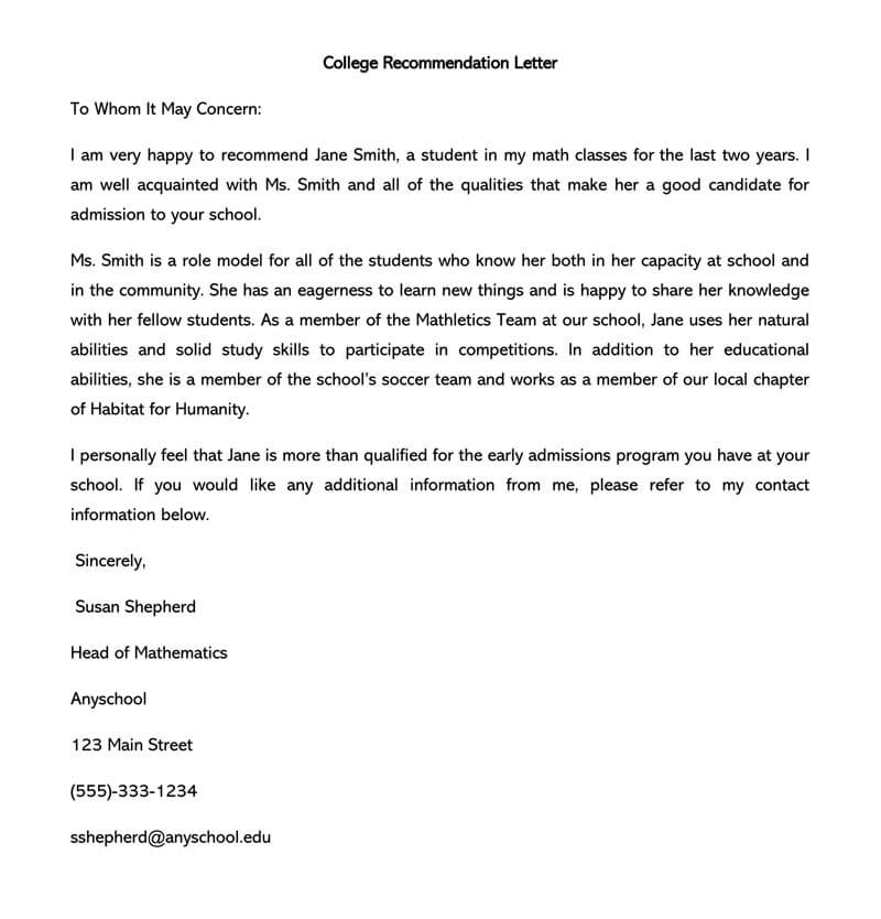 Writing a letter of recommendation for a student for college