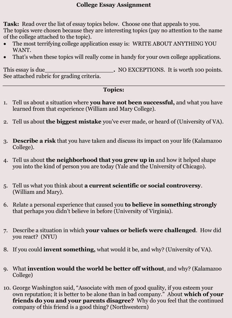 8 samples of college application essay format and writing tips