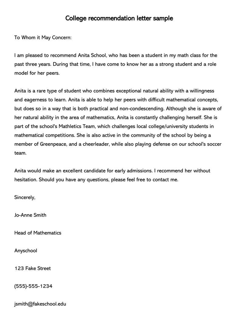 college recommendation letter  10  sample letters  u0026 free