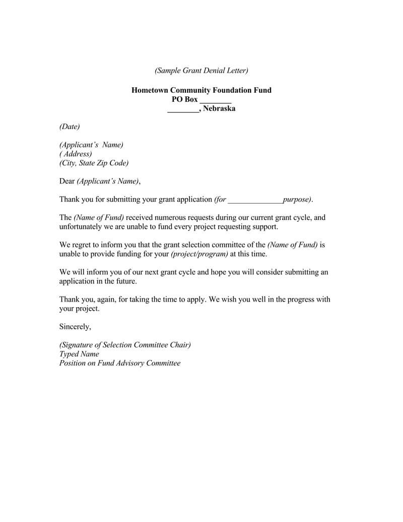 College scholarship rejection letter sample