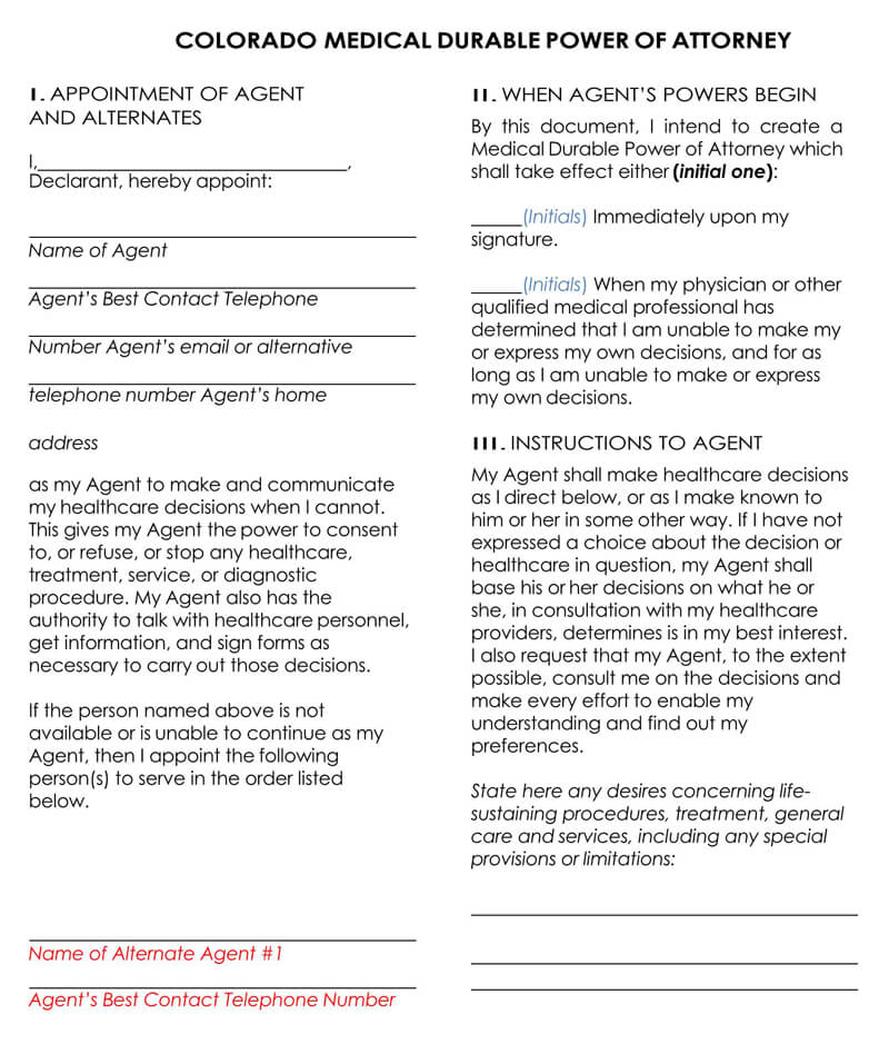Colorado Medical POA Form