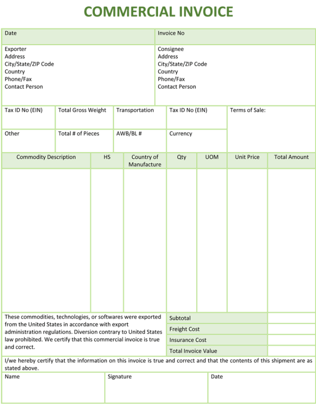 Wonderful Commercial Invoice Format On Printable Commercial Invoice