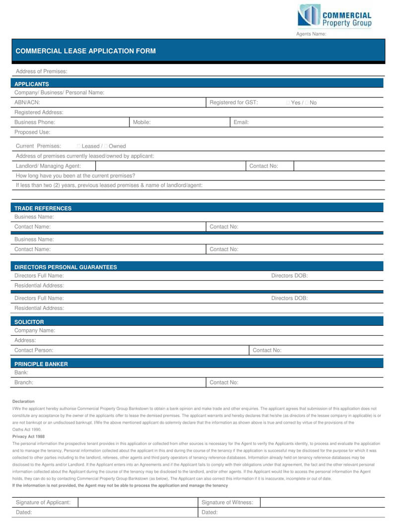 Commercial Lease Application Form PDF