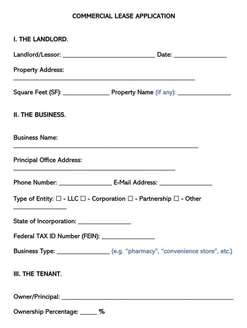 Commercial Lease Application