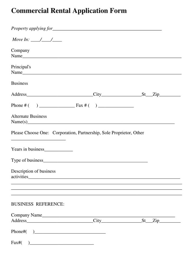 Commercial Lease Rental Application Form