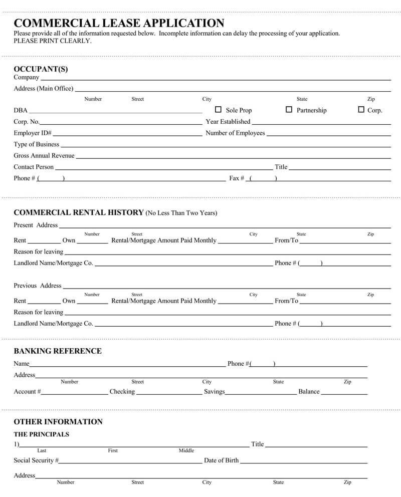Commercial Office Lease Application Form