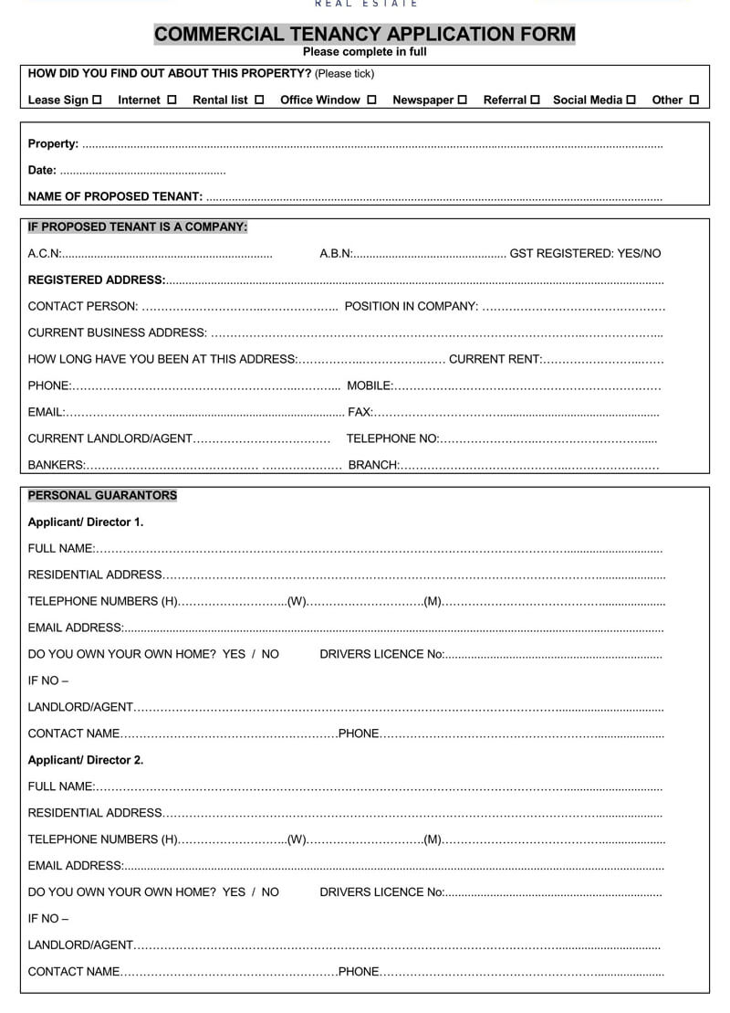 Commercial Tenant Lease Application Form