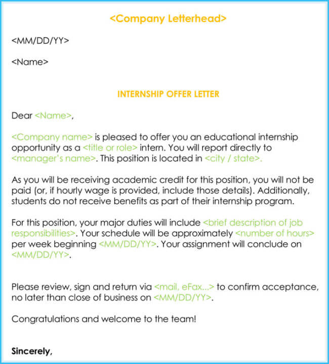 sample internship offer letter Korestjovenesambientecasco