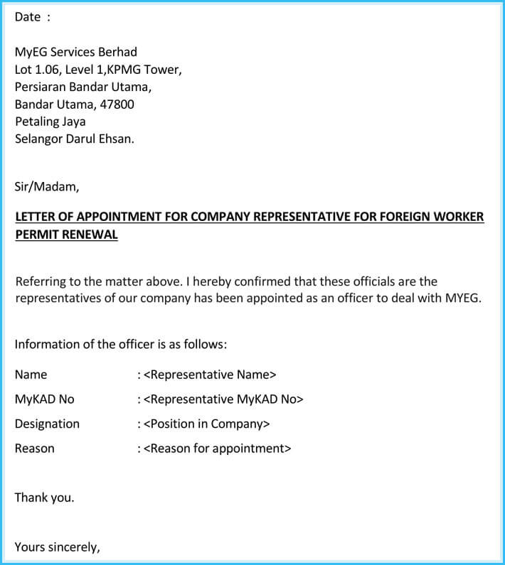 Company appointment letters 20 samples examples formats company representative appointment letter altavistaventures Image collections