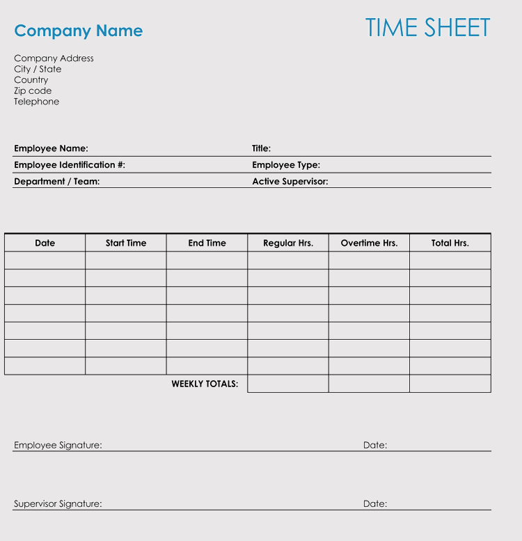 Printable Time Management Sheets