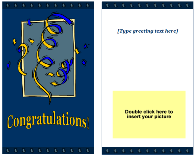 Congratulations Greeting Card Template Easy Printable