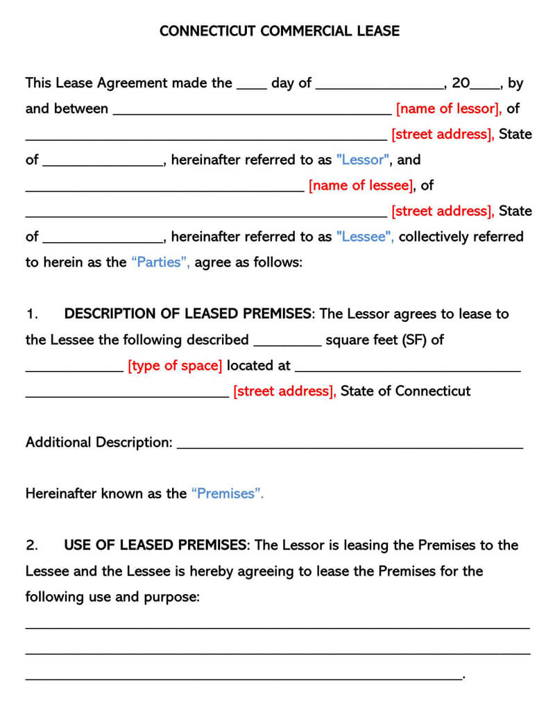 Connecticut Commercia Rental Lease Agreement