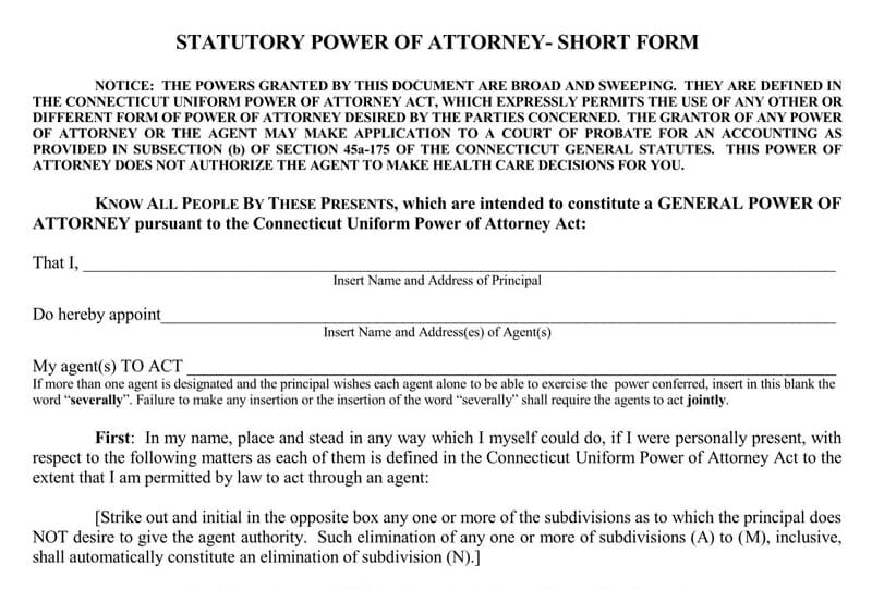 Connecticut Power of Attorney Form