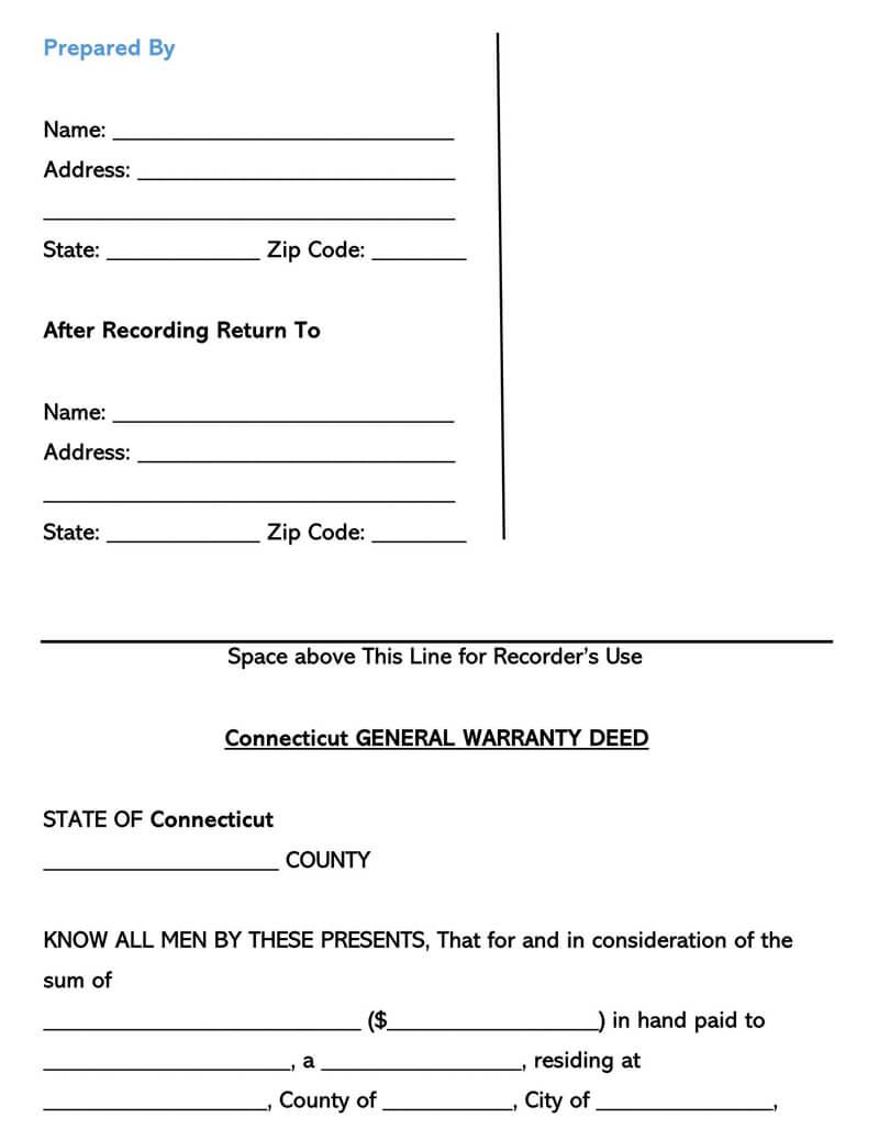 Connecticut Warranty Deed Form