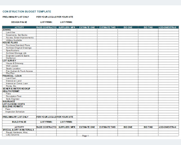 Construction Budget Template 7 Cost Estimator Excel Sheets
