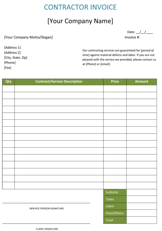 Construction Invoice Template Contractor Invoices - Final invoice template