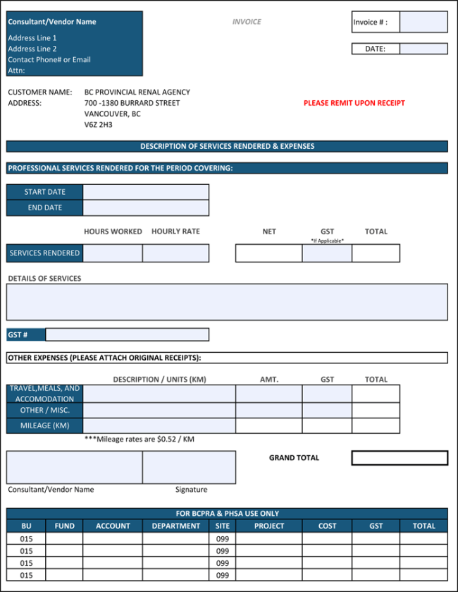 Construction Invoice Template For Excel  Construction Invoice Template