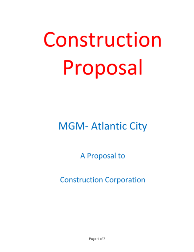 Construction Proposal Template 4 Best Sample – Sample Proposal
