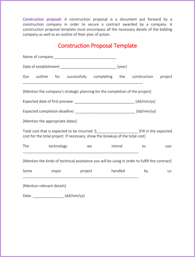 Construction Proposal Template 4 Best Sample – Proposal Word Template