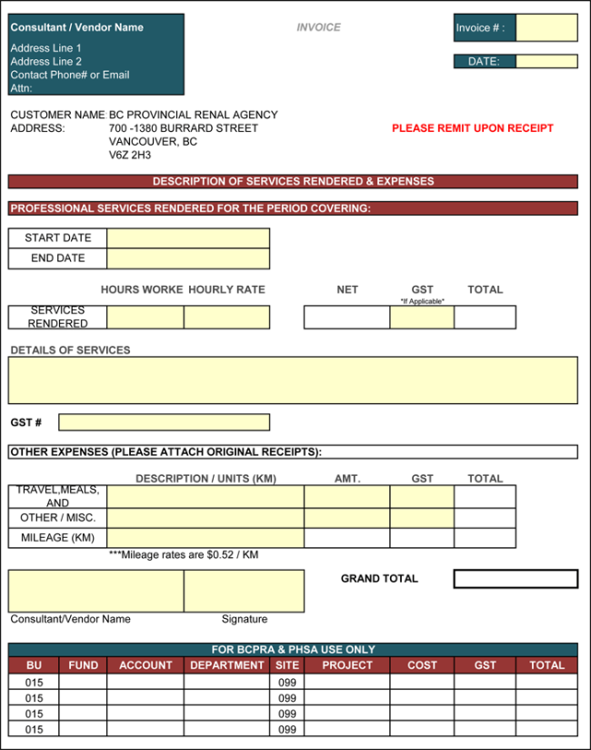 image regarding Free Printable Construction Invoice Template referred to as Contractor Bill Template - 6 Printable Contractor Invoices