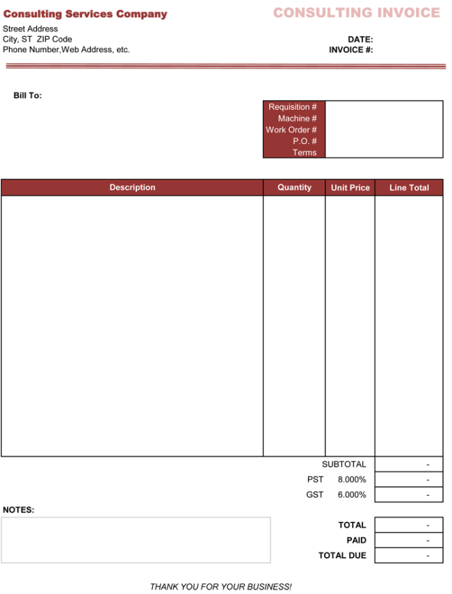 Consulting Invoice Template Excel