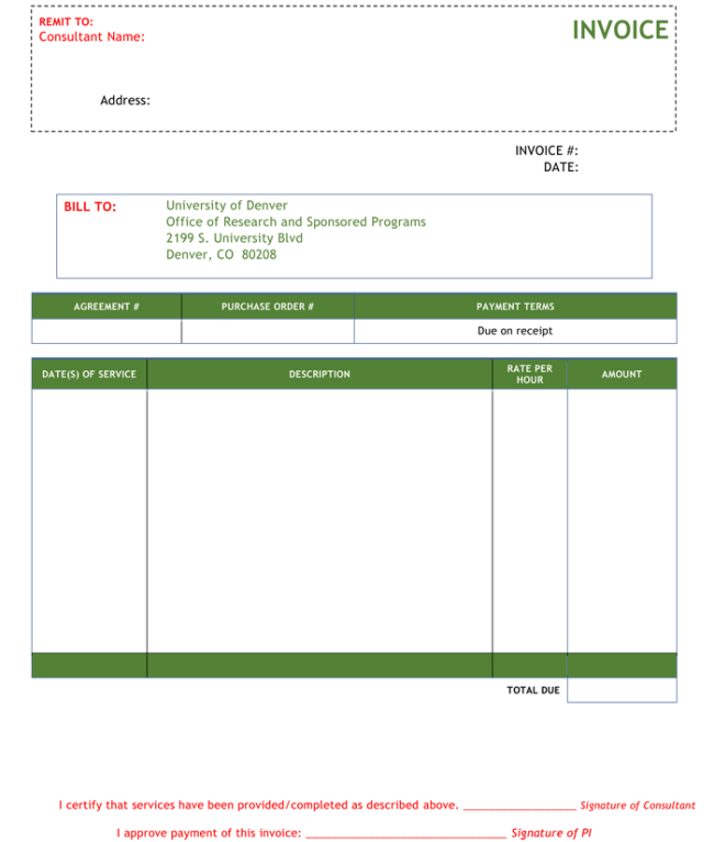 Consulting Invoice Templates To Make Quick Invoices - Image of invoice template