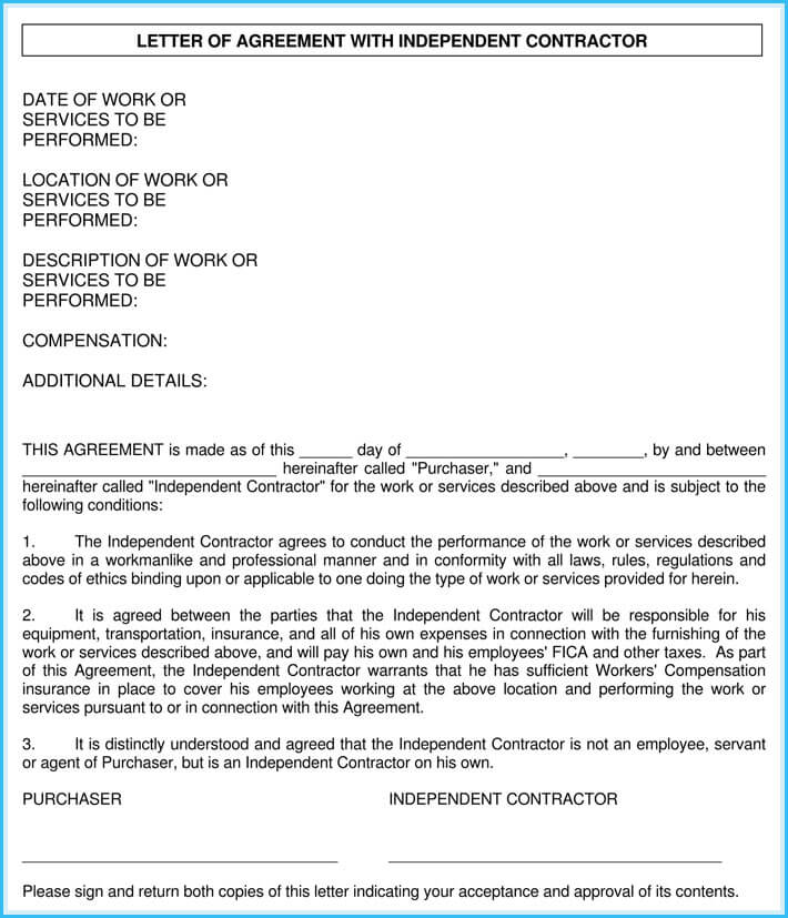 independence contractor appointment letter