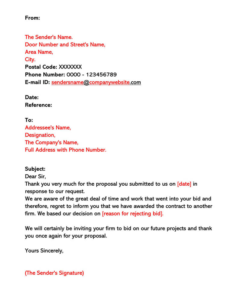 Contractor Bid Rejection Letter