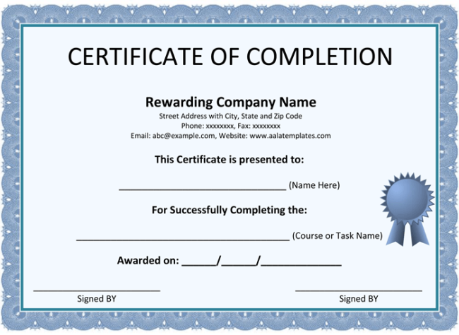 Certificate of Completion Template 5 Printable Formats – Certificate of Completion Sample