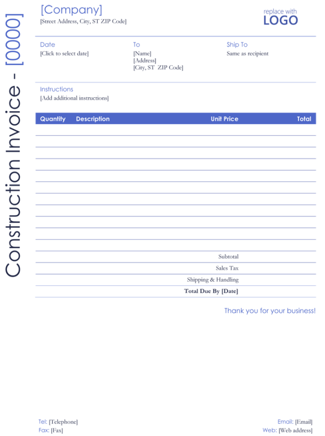Construction Invoice Template Contractor Invoices - Construction invoice form free for service business