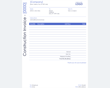 Templates For Microsoft® Word  Construction Invoice Template