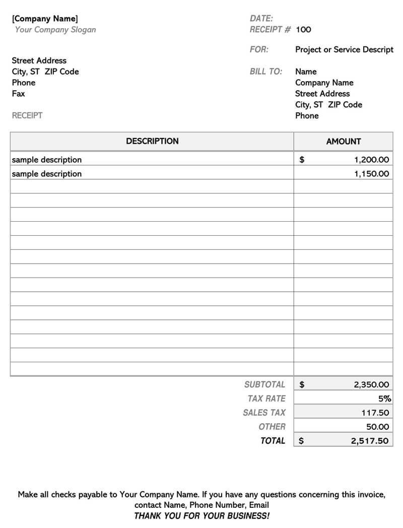 Contractor Invoice Simple