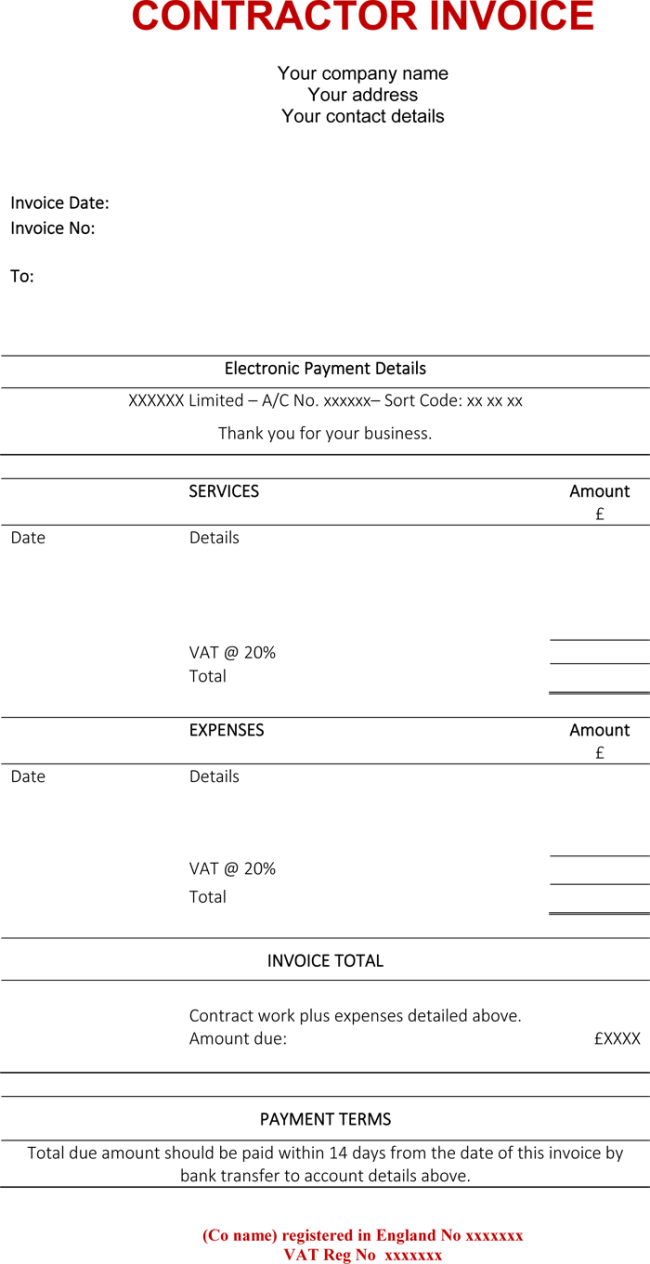 Contractor Invoice Template 6 Printable Contractor Invoices – Contractor Receipt