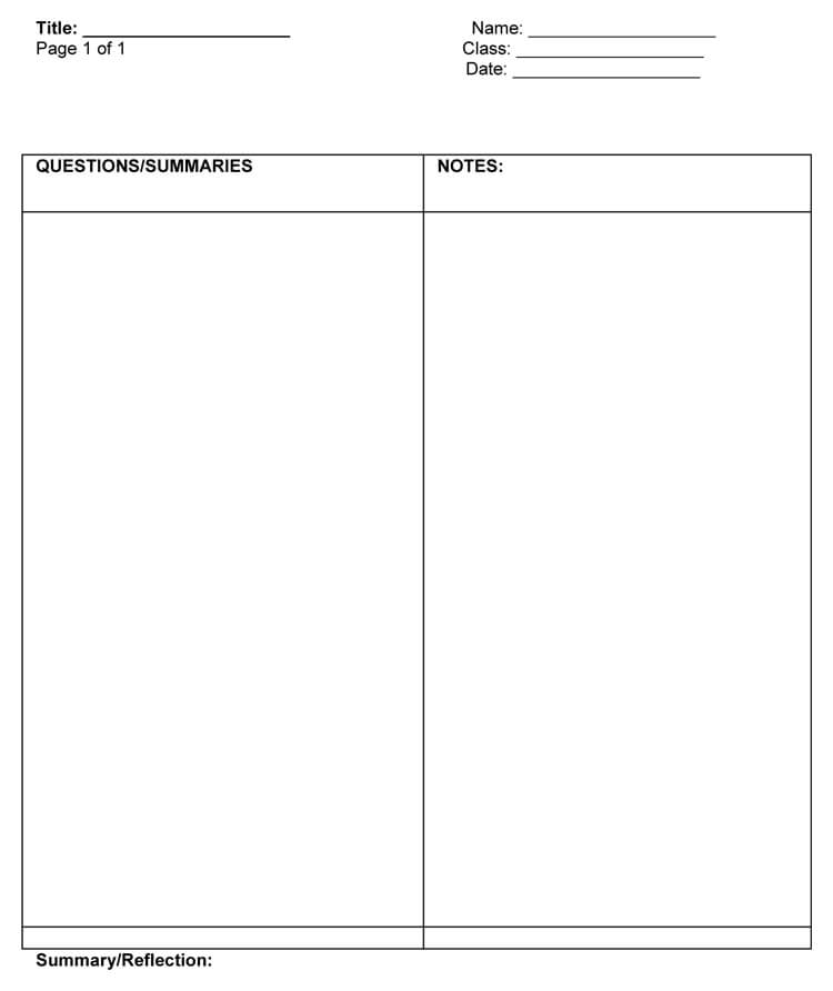 steps of the cornell note taking method