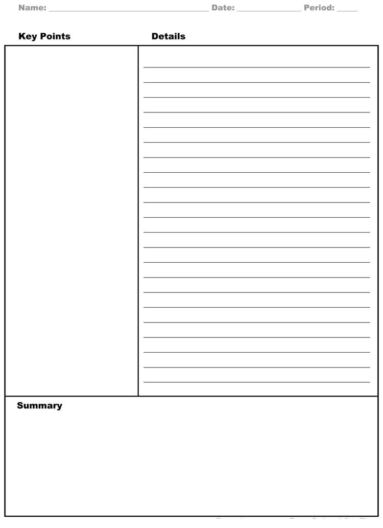cornell note taking template doc