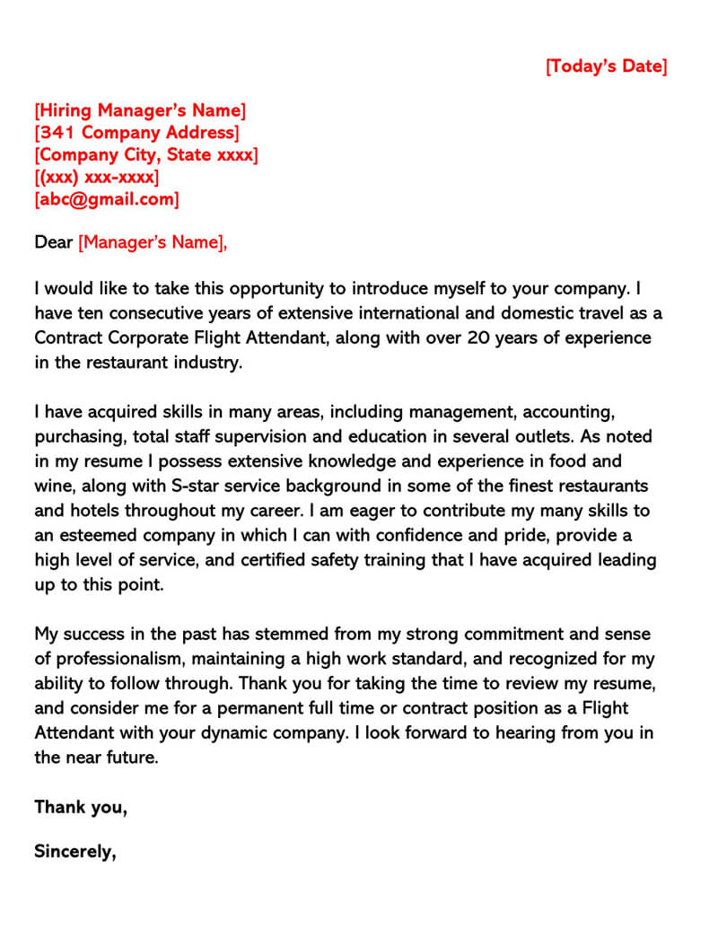 Flight Attendant Cover Letter (Sample Letters & Email Examples)