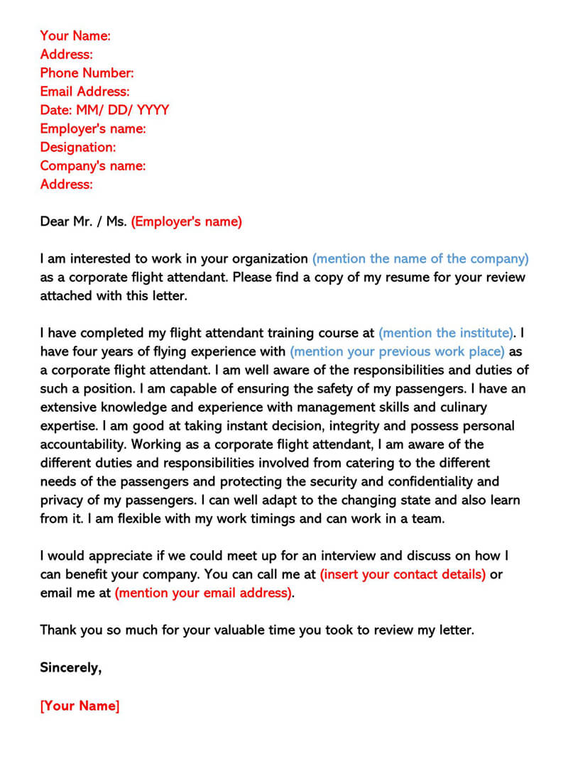 Corporate Flight Attendant Letter Sample