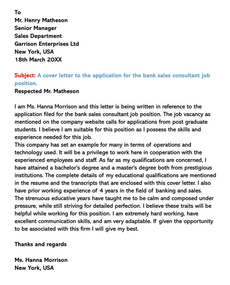 Cover Letter for Bank Sales Consultant