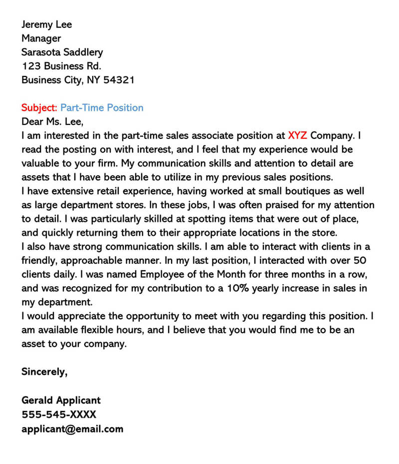 Cover Letter for Second Job