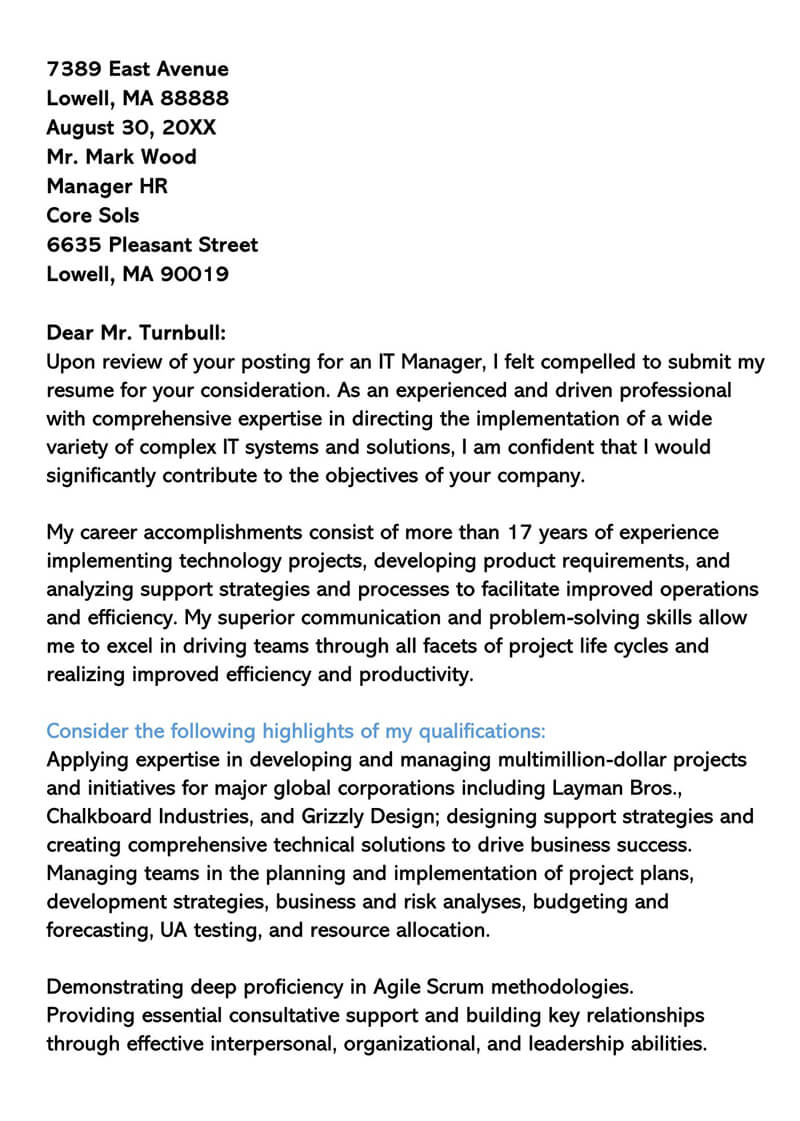 Cover Letter for Senior IT Manager