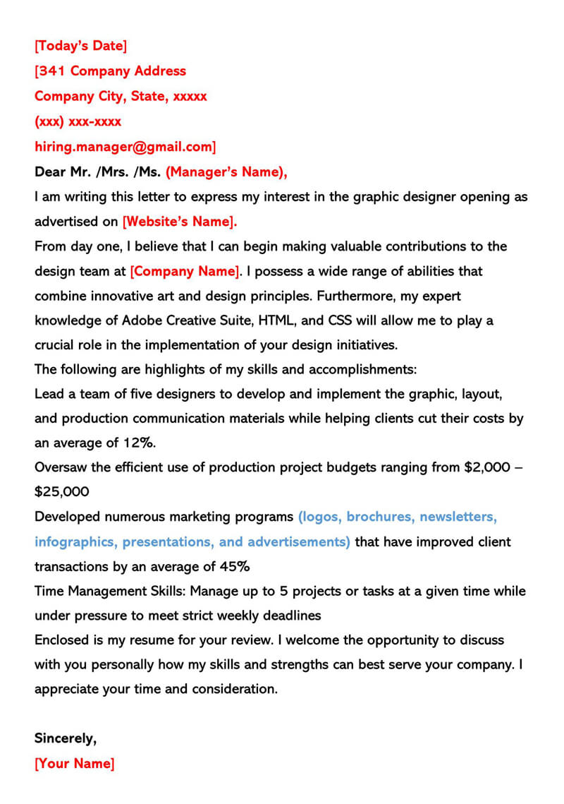Graphic Designer Cover Letter (Sample Letters & Examples)