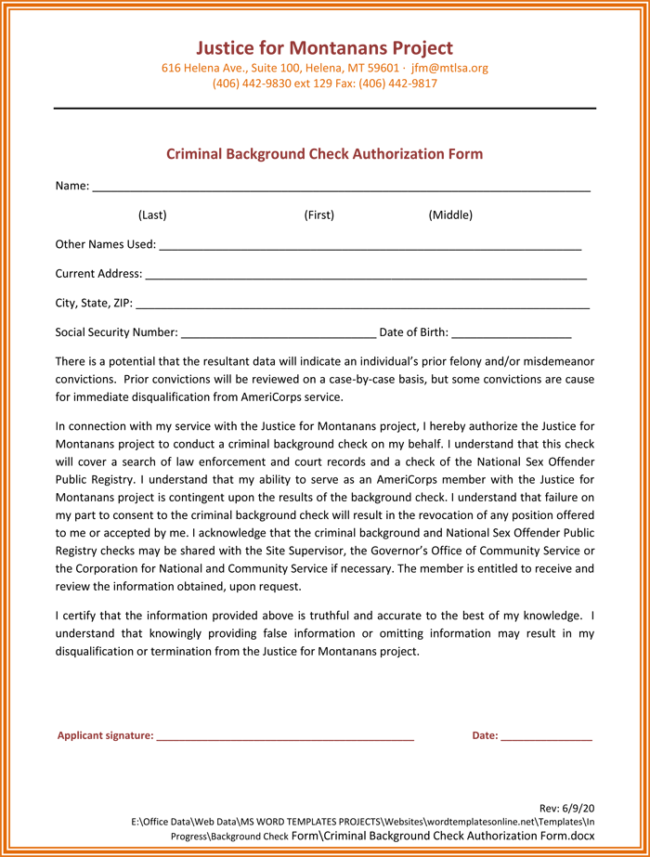 Criminal Background Check Authorization Form