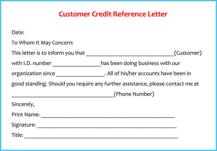 What Is Credit Reference Letter